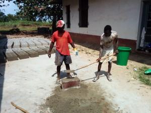 Molding a cement block